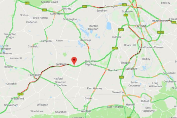 Roadworks on the A420 causing severe delays