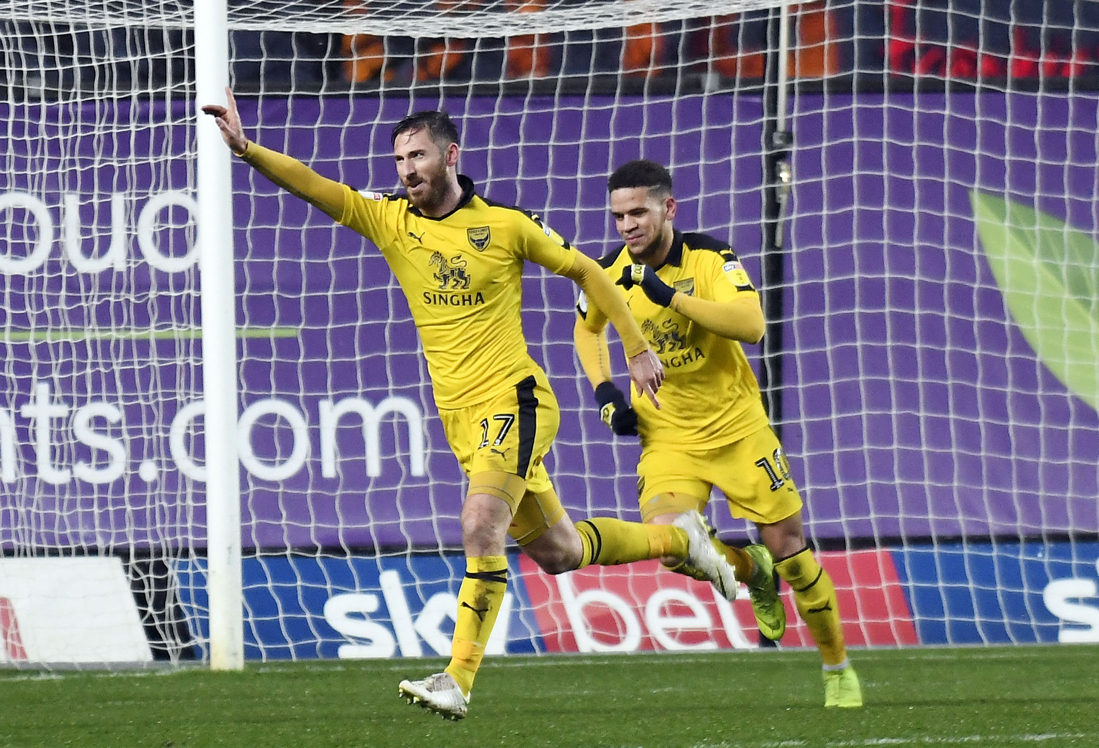 James Henry (left) celebrates putting Oxford United 2-0 up against Blackpool  Picture: David Fleming