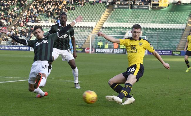 Gavin Whyte swings a cross in during the first half at Plymouth Argyle  Picture: David Fleming