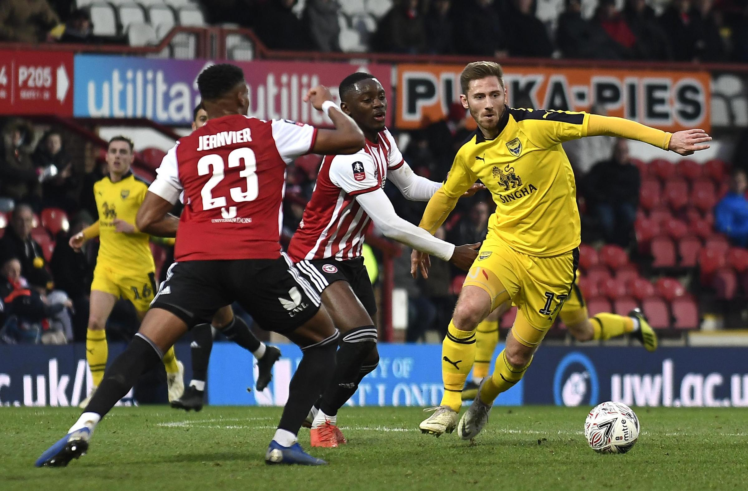 James Henry on the attack for Oxford United against Brentford  Picture: David Fleming