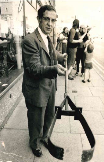 Abingdon ironmonger pictured with his six-foot bomb remover