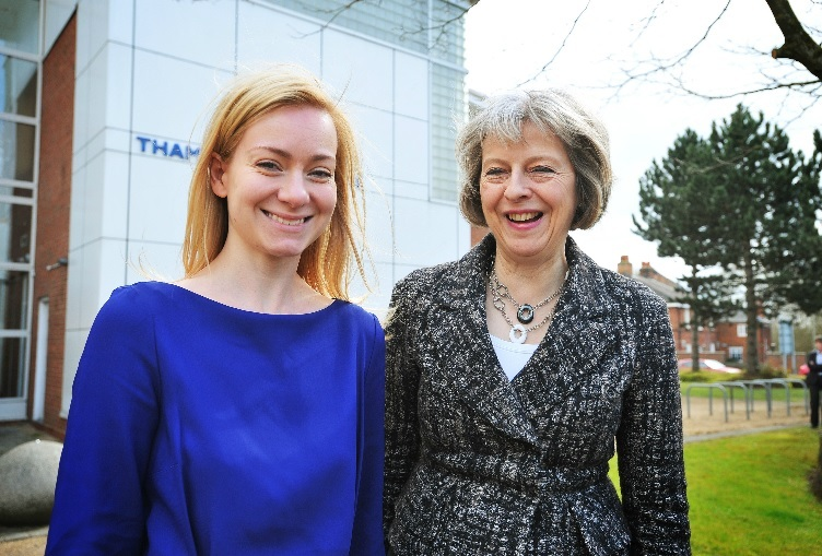 Nicola Blackwood (left) and Theresa May in 2016