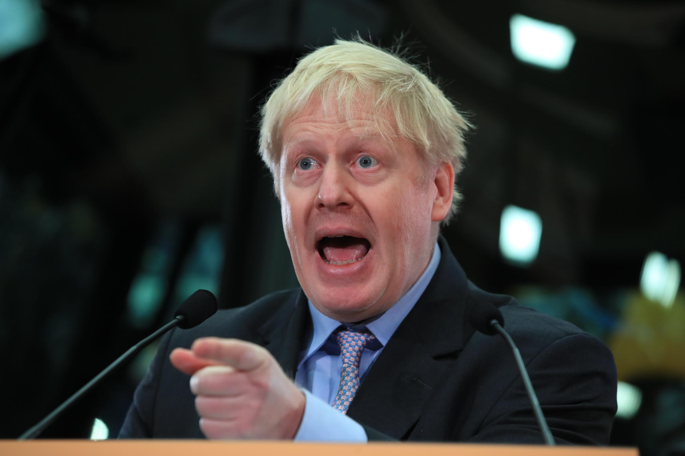 Boris Johnson speaking at the headquarters of JCB in Rocester, Staffordshire