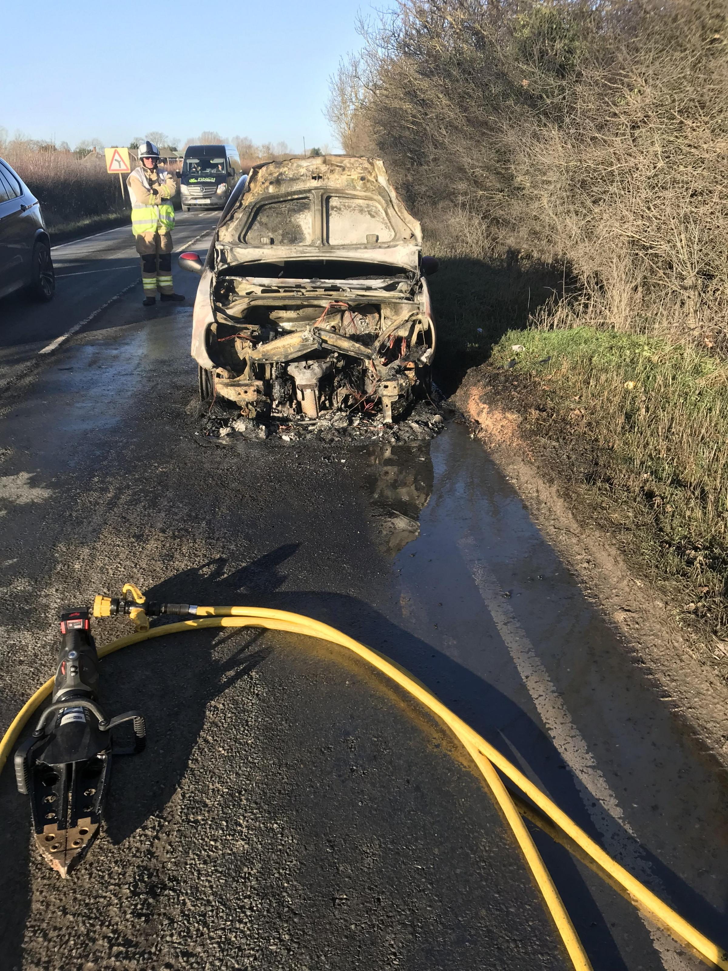 Car fire may have been started by fuel leak