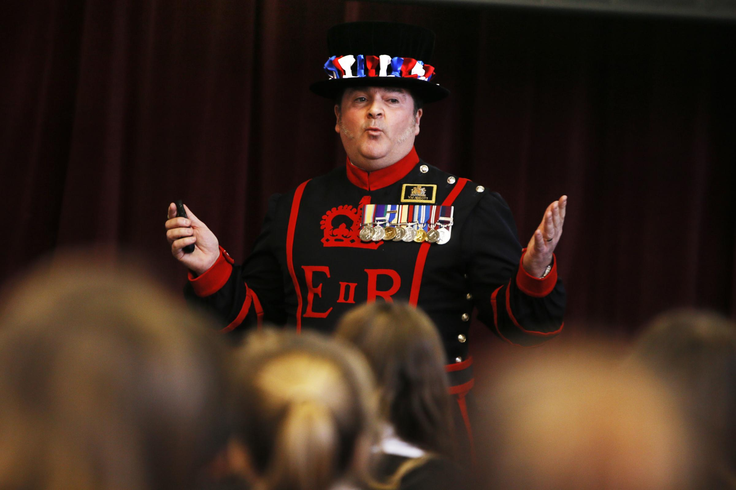 Beefeater Spike Abbott speaks to year 7s at Larkmead School for National Storytelling Week.Picture: Ed Nix