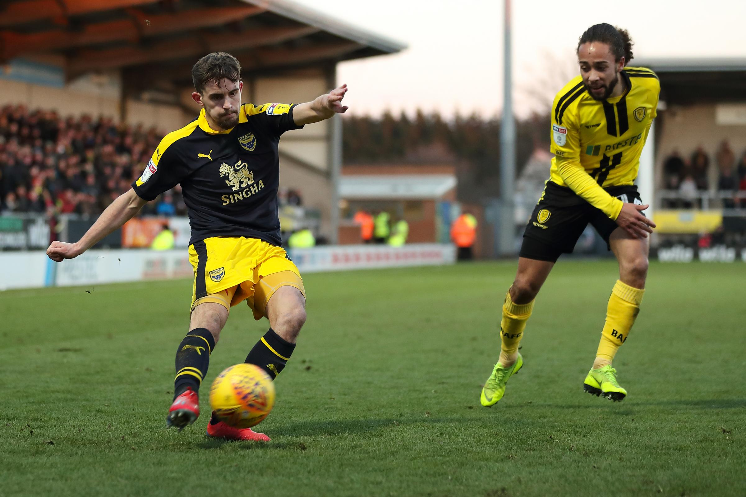 Jamie Hanson swings in a cross as Oxford United look to break down Burton without success on SaturdayPicture: James Williamson