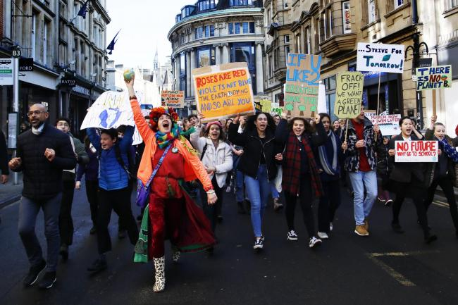 Pupils at the February climate strike in Oxford. Picture by Ed Nix