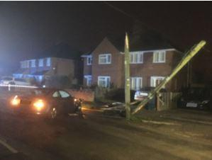 The snapped pole on Drake Avenue, Didcot Picture: Oxon Fire and Rescue