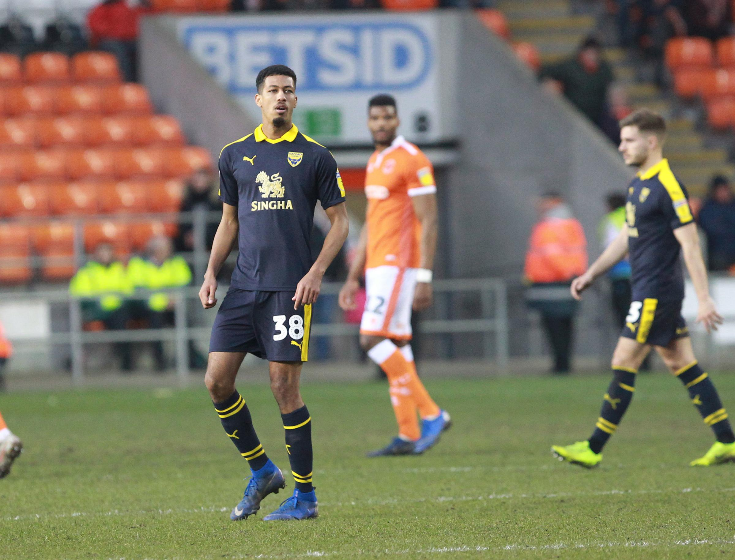 Jonte Smith during his debut for Oxford United at Blackpool last month Picture: Richard Parkes