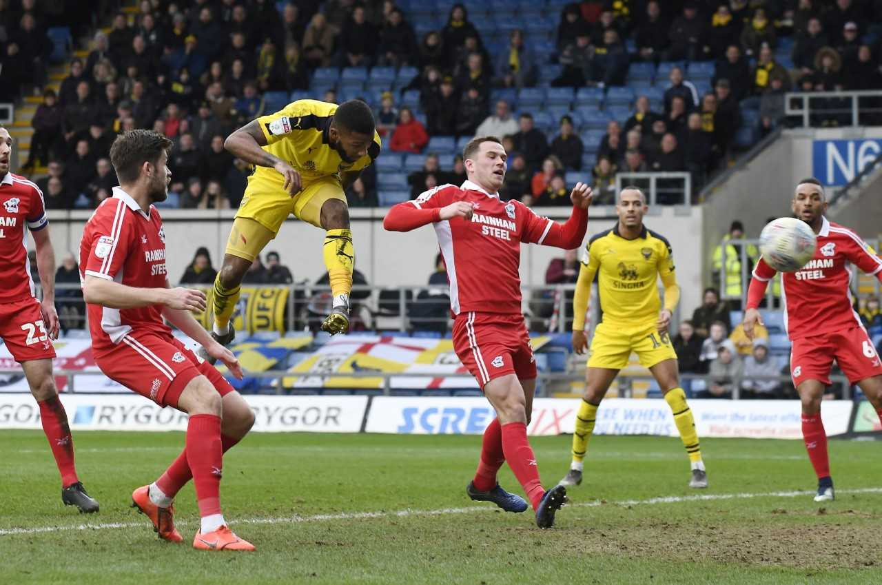 Jerome Sinclair heads in his second goal of the game  Pictures: David Fleming