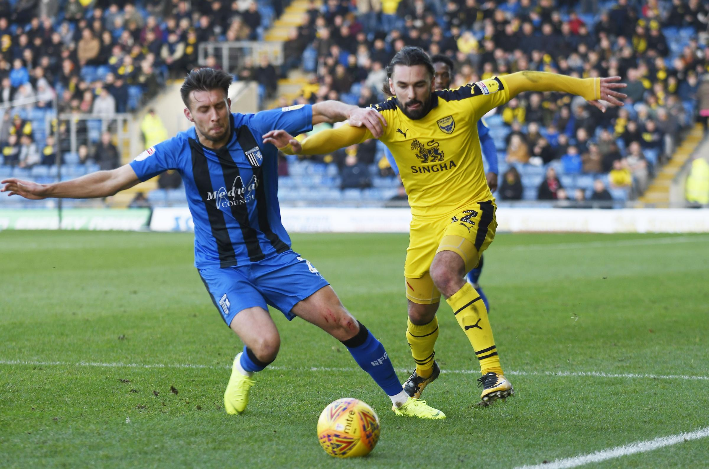 Ricky Holmes in action against Gillingham for Oxford United in November  Picture: David Fleming