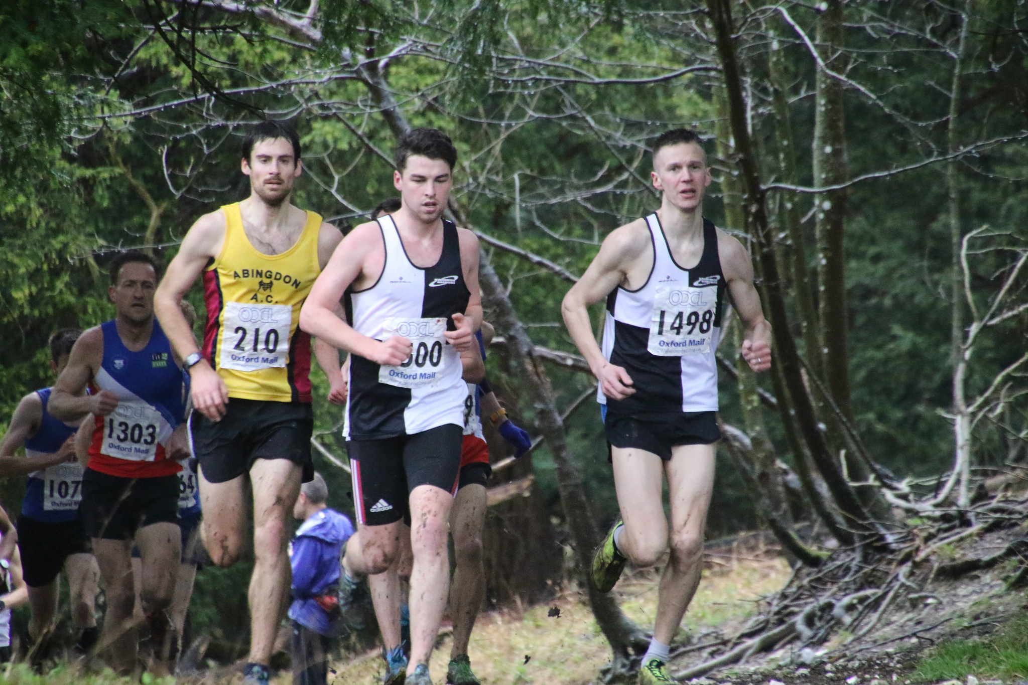 Race winner Dan Blake (1303) and men's overall winner Alex Wall-Clarke (210) trail two Swindon Harriers athletes in the early stages Picture: Barry Cornelius