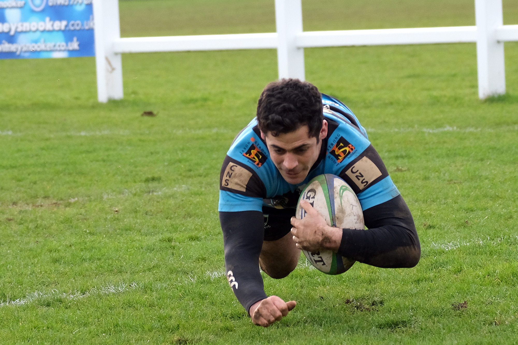 Skipper Matt Clarke goes over for Witney's opening try against Trowbridge Picture: Ric Mellis
