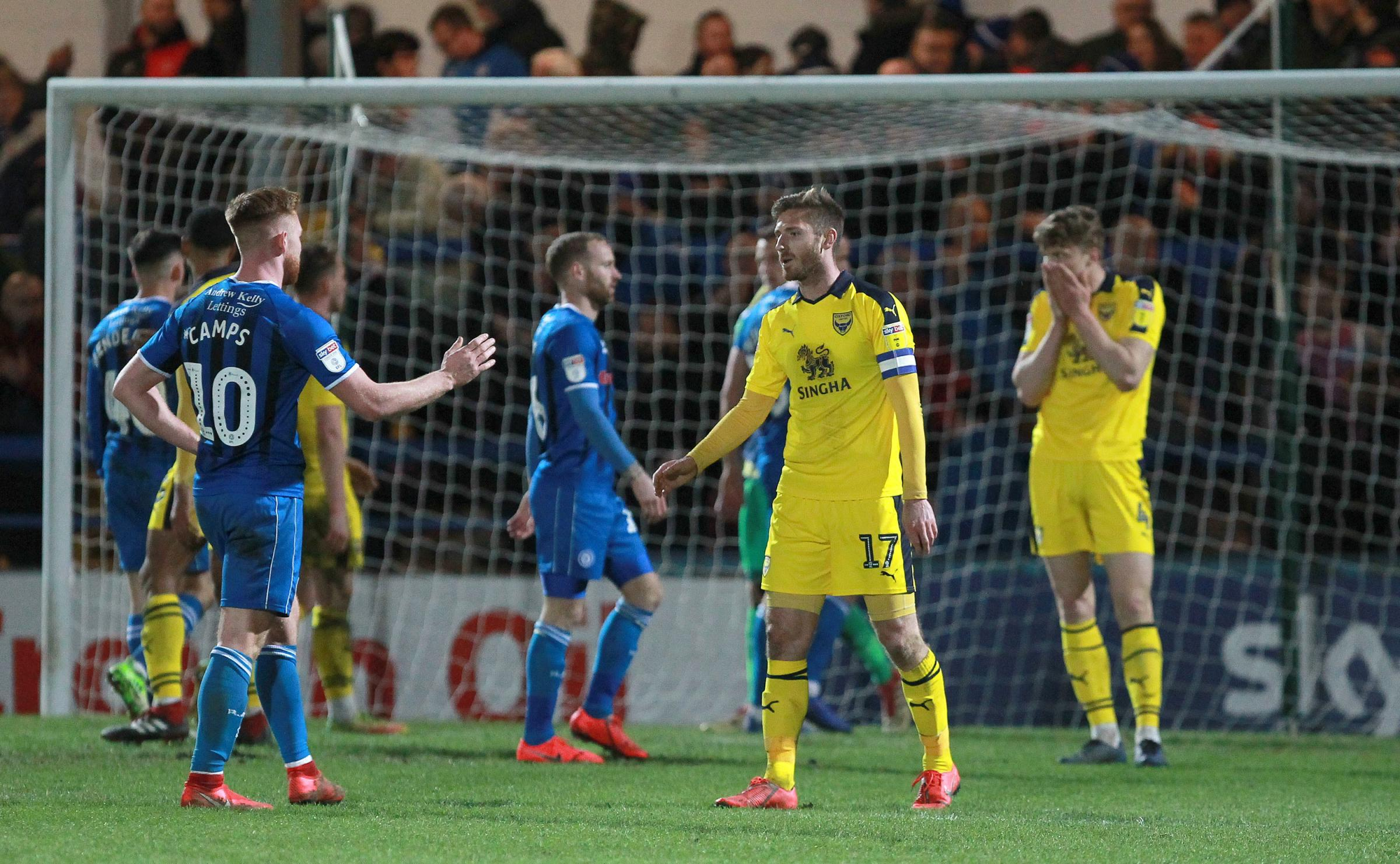 Oxford United's players show their disappointment at the final whistle after the stalemate with Rochdale       Picture: Richard Parkes