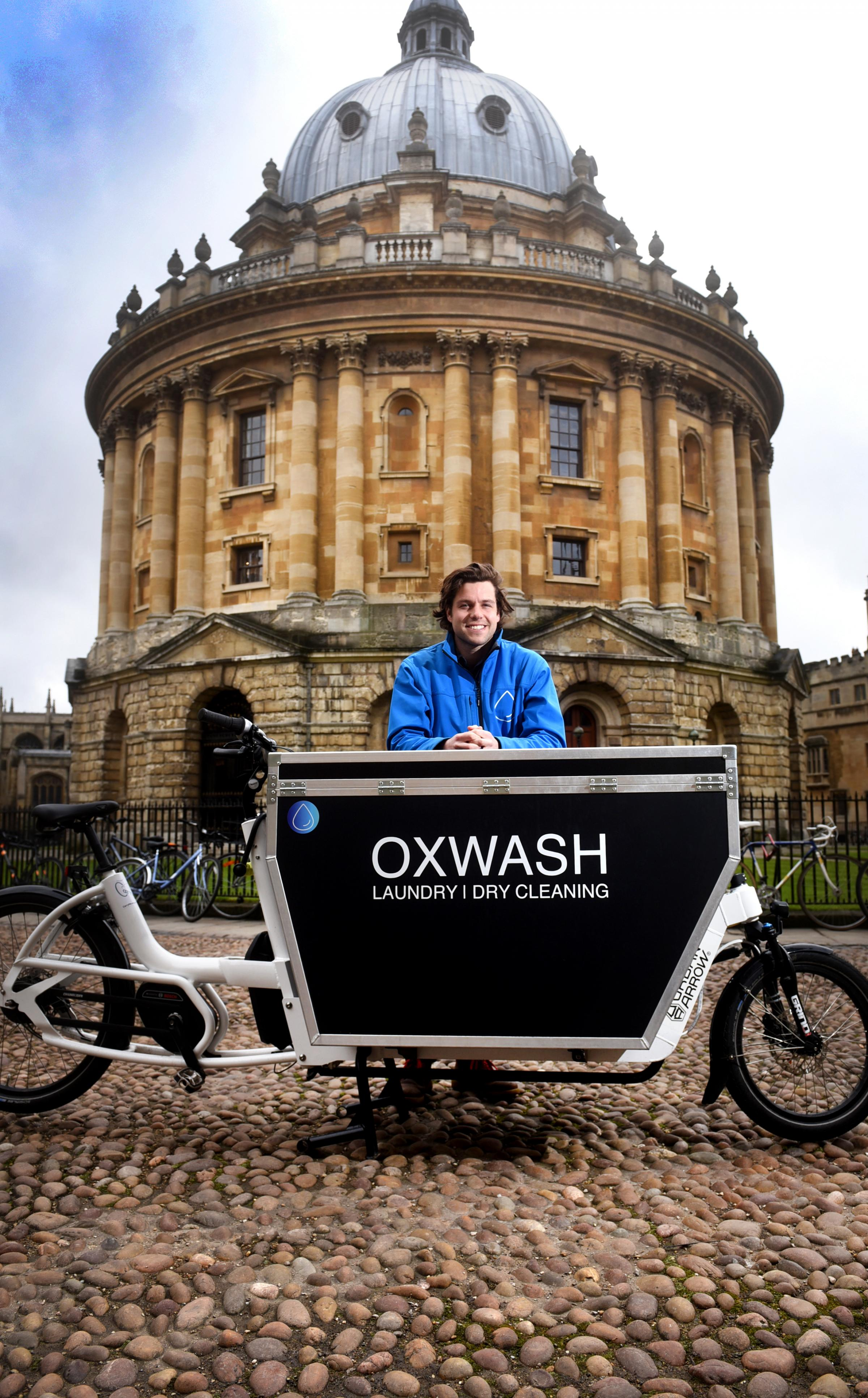 "Kyle Grant is CEO of Oxford�s latest bike-based business � ""OxClean "" a laundry and dry cleaning and delivery service. Picture Richard Cave  04.03.18."
