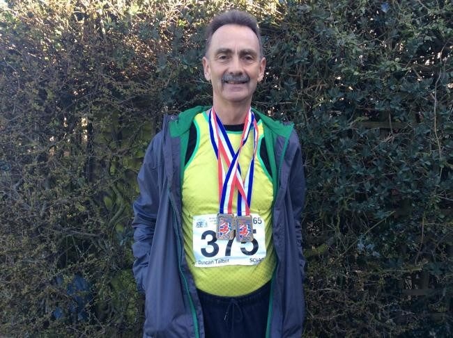 Duncan Talbot with his medals from the UK Masters Championships