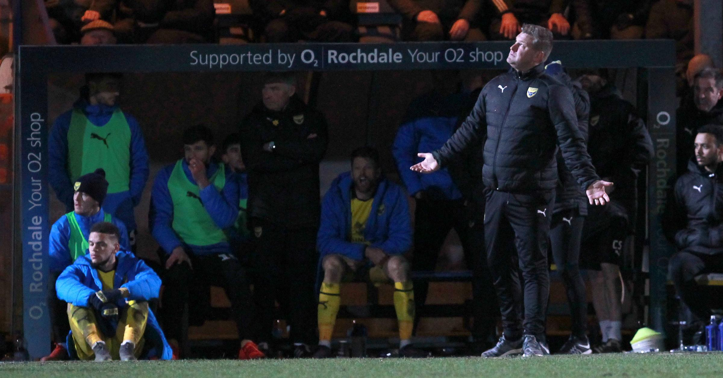 Karl Robinson looks to the skies for assistance during Tuesday's draw at Rochdale which kept the U's in the relegation zone         Picture: Richard Parkes