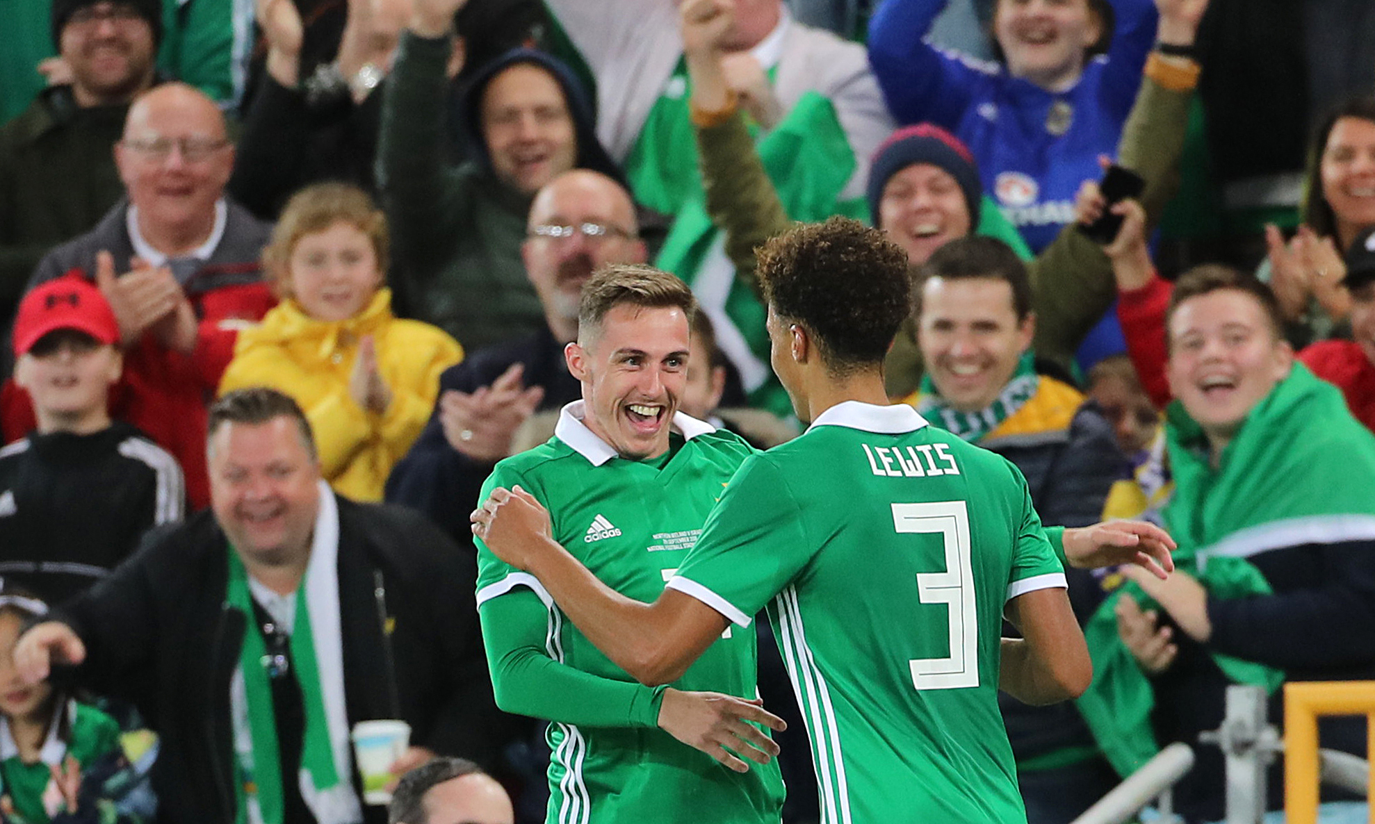 Gavin Whyte (left) celebrates scoring for Northern Ireland against Israel in a friendly at Windsor Park in September Picture: Liam McBurney/PA Wire