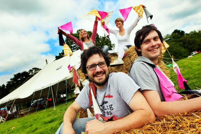 Wood festival! Front L-R are founders Joe and Robin Bennett. Behind left is Megan Bennett and right is Claire Bennett.