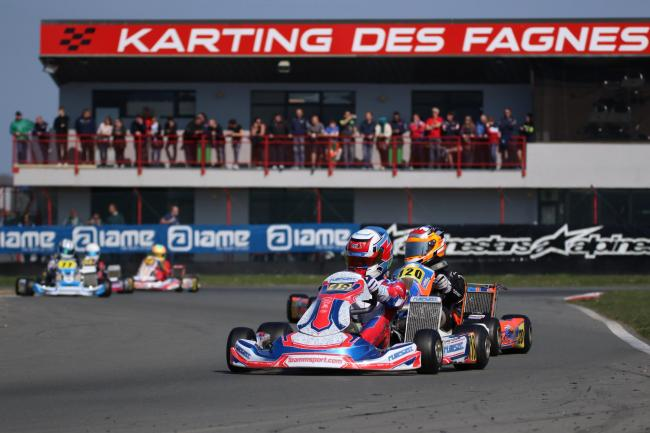 Samuel Hawthorne during the first round of the European Karting Championship