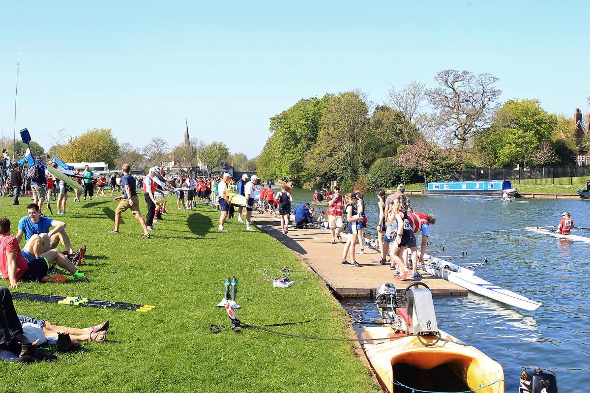 Crowds and rowers enjoying the sunshine at the Head of the River. Picture Ric Mellis