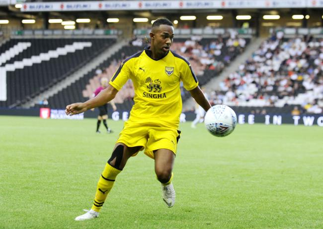 Rob Hall in action for Oxford United at MK Dons during last pre-season   Picture: David Fleming