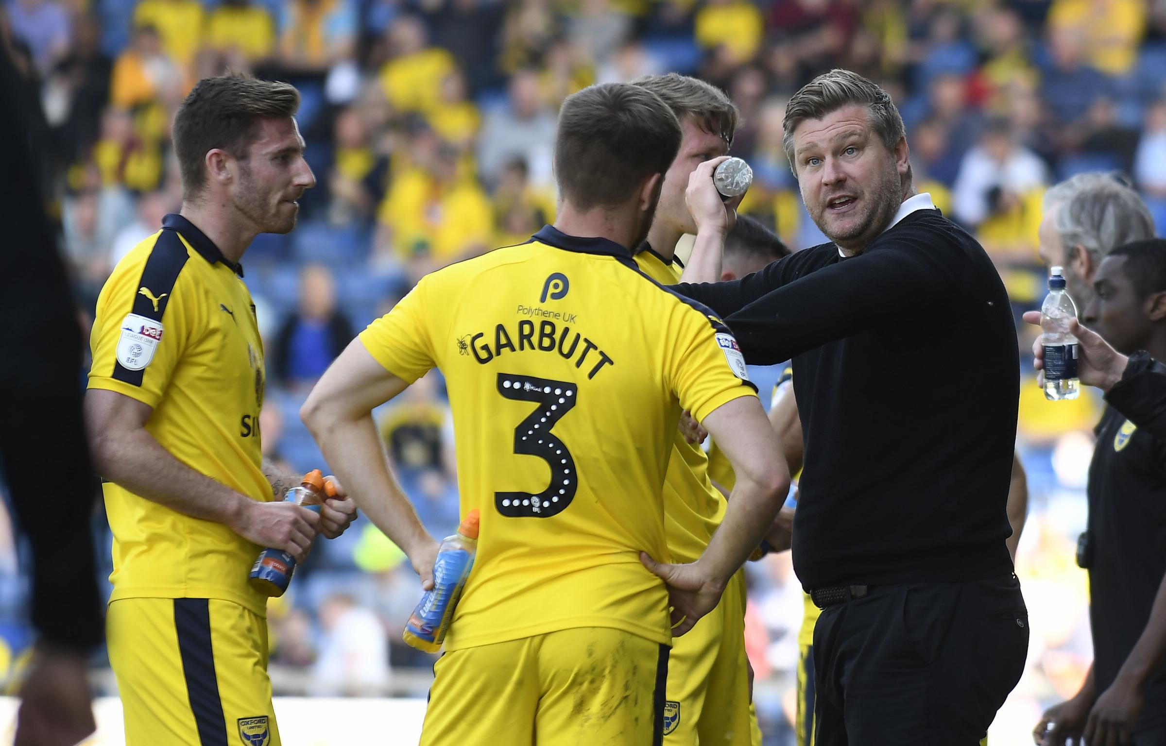Karl Robinson gives instructions to his Oxford United players during a break in play  Picture: David Fleming
