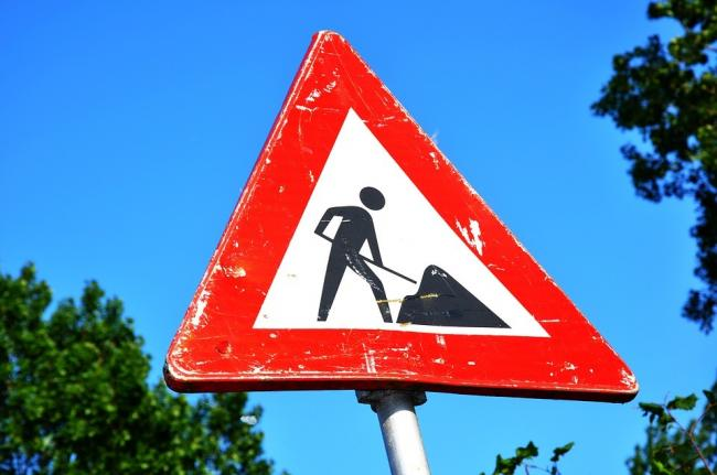Roadworks sign (stock image)