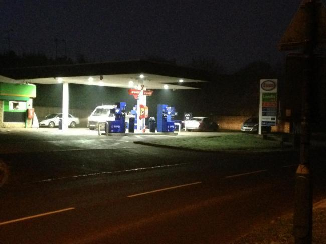 Bloxham Service Station in South Newington Road earlier this year, with its former forecourt lights on. The Londis lights are to the left of the picture