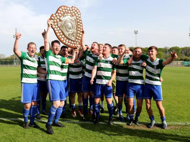 Wantage Town celebrate their Uhlsport Hellenic League Premier Division title glory Picture: Wantage Town FC