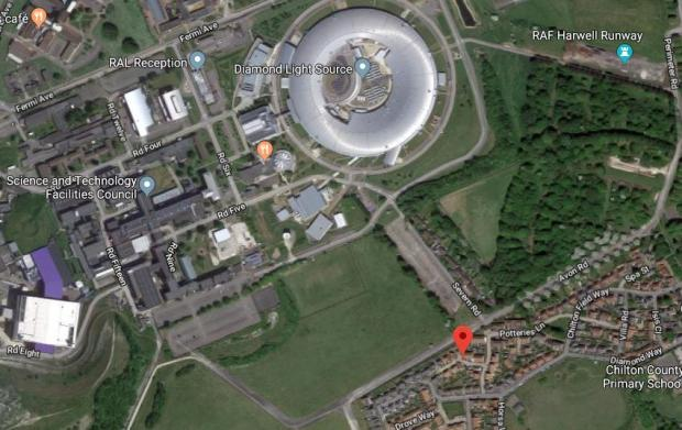 Herald Series: Red pointer shows Baths Road with the nearby Harwell Science and Inovation Centre, including the Diamond Light Source. Picture via Google Maps