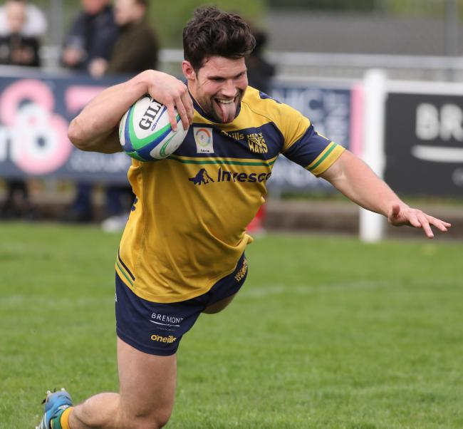 Brad Cook dives over for Henley's opening try against Bury St Edmunds Picture: Steve Karpa