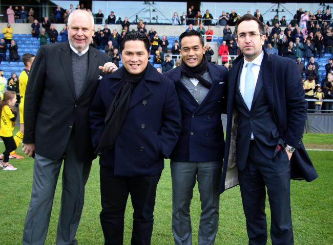 Oxford United directors, pictured at a game in April, (from left): Horst Geicke, Erick Thohir, Anindya Bakrie, Zaki Nuseibeh   Picture: Steve Daniels