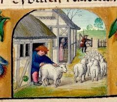 A Medieval depiction of a sheep farmer
