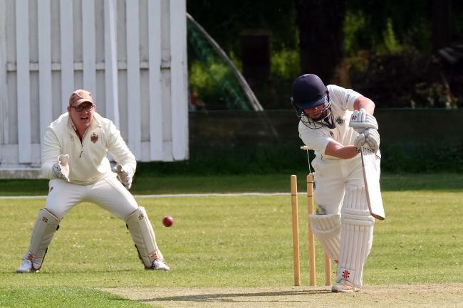 Freddie Robson is bowled by Leigh Smith during Minster Lovell's home game against Challow and Childrey on Saturday Picture: Ric Mellis