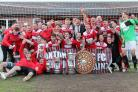 Saxton Rovers celebrate after winning the North Berks Cup