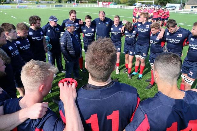 Forwards coach Liam Gilbert leads the team talk after Oxfordshire's commanding win over North Midlands last Saturday Picture: Simon Grieve
