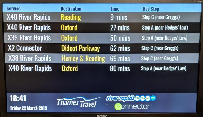 Wallingford's digital screen. Picture: Thames Travel
