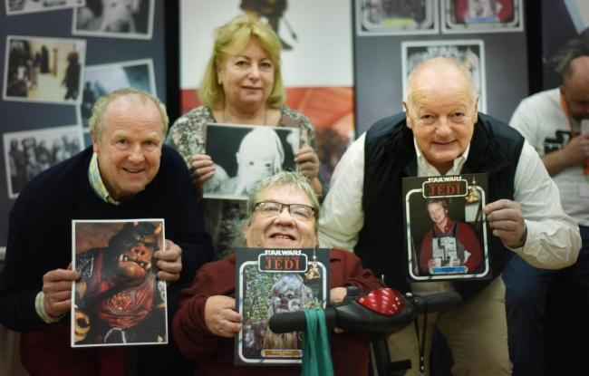 Wantage's Comicon 2017, with Star Wars actors (L to R) Hugh Spight (Gamorrean guard), Eileen Roberts, Michael Roberts and David Stone (B.wing Pilot). Picture: Richard Cave