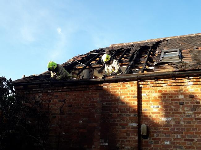 Firefighters attend the incident in Little Wittenham Picture: Oxon Fire and Rescue